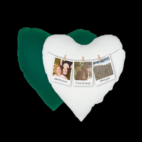 Cuscino a cuore personalizzato in raso verde