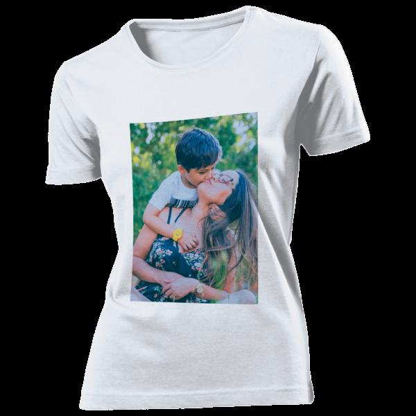 T-shirt bianca in cotone personalizzata con foto