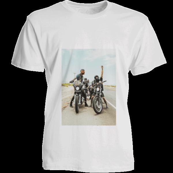 T-shirt bianca personalizzata con foto in poliestere