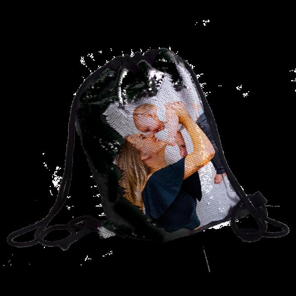 zainetto paillettes nere personalizzato con foto