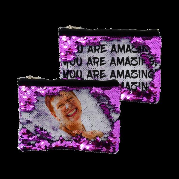 Pochette personalizzata con foto e testo in paillettes fuxia