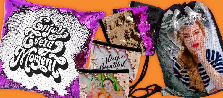 Zainetto, cuscini e pochette con paillettes reversibili personalizzati con foto