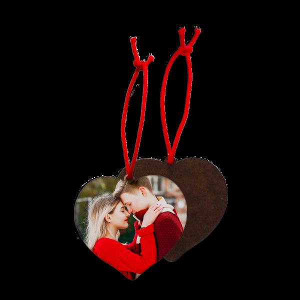 Addobbo Natale in legno a forma di cuore personalizzato