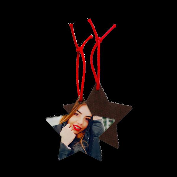 Addobbo di Natale in legno a forma di stella personalizzato