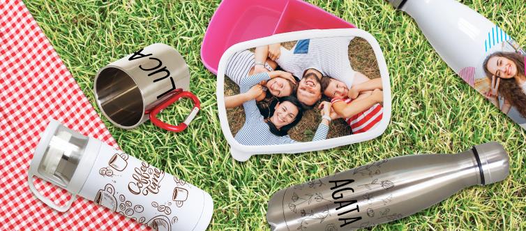 Tazza personalizzata acciaio, borraccia personalizzata, lunch box personalizzato