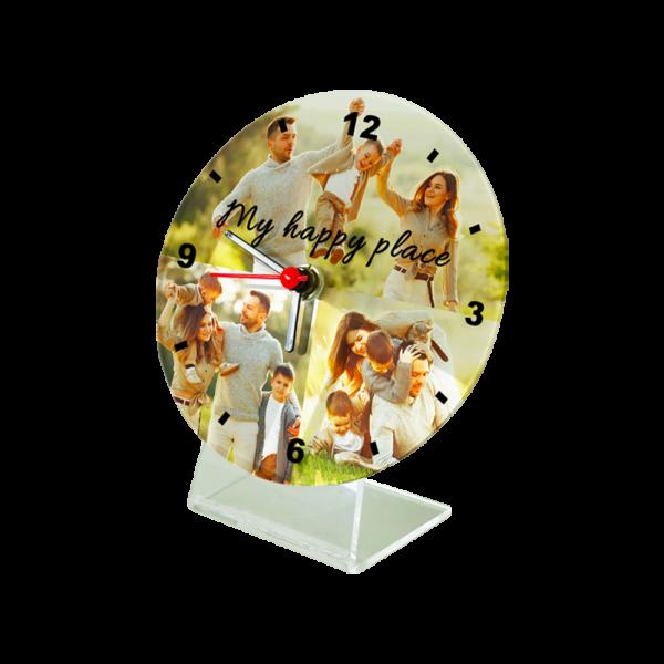orologio da tavolo personalizzato con quadrante e piedistallo
