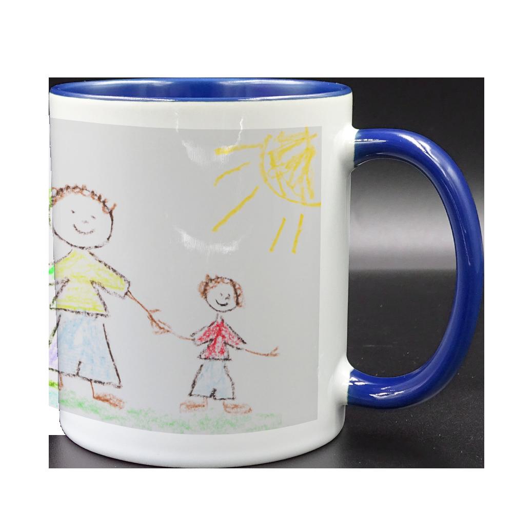 tazza bianca manico e interno blu personalizzata