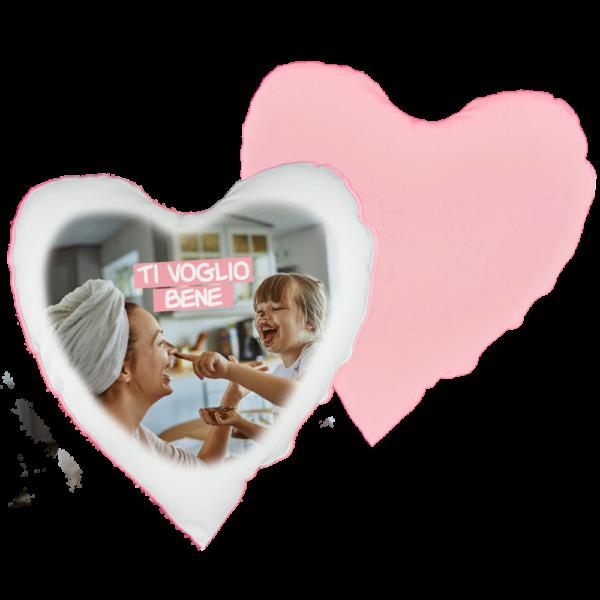 cuscino cuore rosa personalizzato con foto e testo