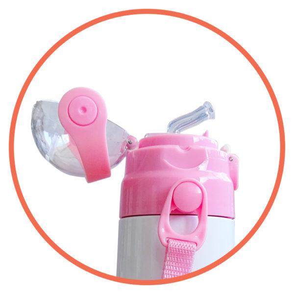 borraccia termica personalizzata per bambini con tracolla rosa